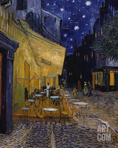 Cafe Terrace at Night Stretched Canvas Print
