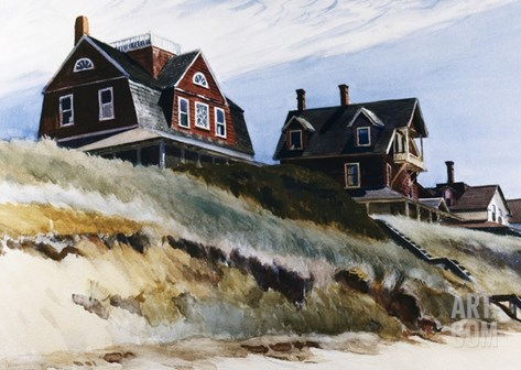 Cottages at Wellfleet Stretched Canvas Print