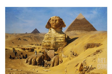Excavation of the Sphinx Stretched Canvas Print