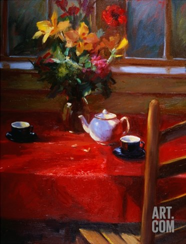 Flowers and Teapot on Red Stretched Canvas Print