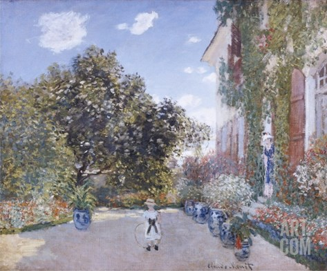 Garden of the Artist at Argenteuil Stretched Canvas Print