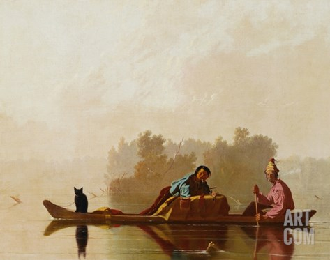 Fur Traders Descending the Missouri Stretched Canvas Print