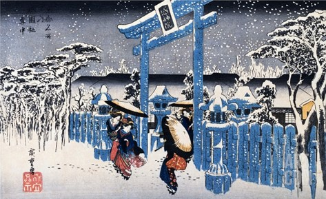 Gion Shimu In Snow Stretched Canvas Print