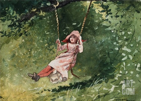 Girl on a Swing Stretched Canvas Print