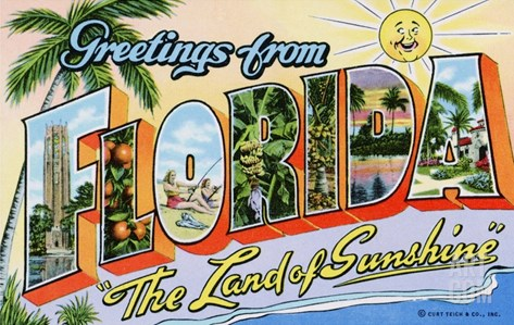 "Greetings from Florida, ""The Land of Sunshine"" Stretched Canvas Print"