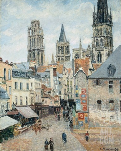 Grocer Street in Rouen, Early Morning Stretched Canvas Print