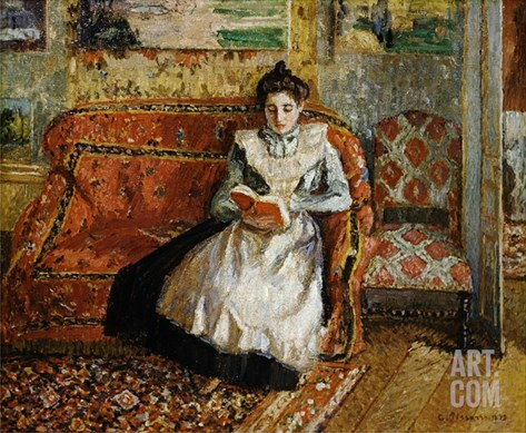 Jeanne Pissarro, Reading Stretched Canvas Print