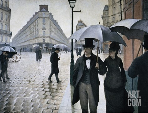 Paris, A Rainy Day Stretched Canvas Print