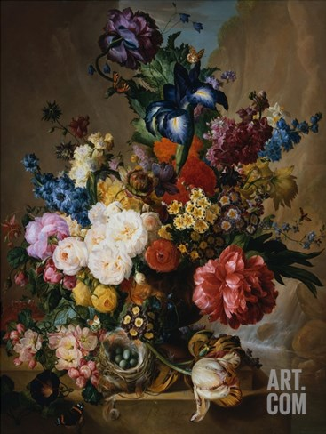 Poppies, Peonies and Other Assorted Flowers in a Terracotta Vase on a Stone Plinth with a Bird's Ne Stretched Canvas Print