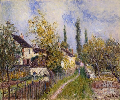 Painting of the French Countryside by Alfred Sisley Stretched Canvas Print