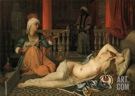 Odalisque with a Slave Stretched Canvas Print