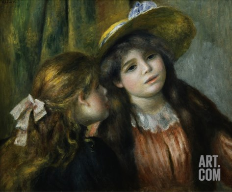 Portrait of Two Girls Stretched Canvas Print