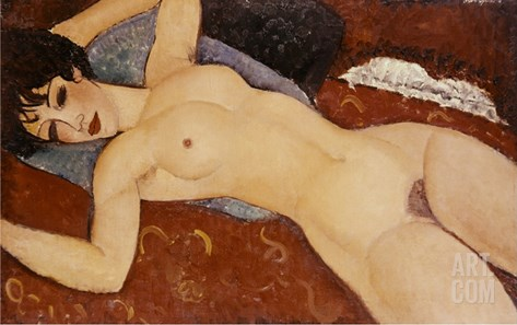 Reclining Nude Stretched Canvas Print