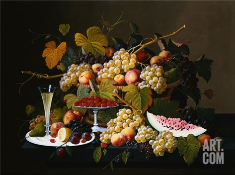 Still Life with Fruit and Champagne Stretched Canvas Print