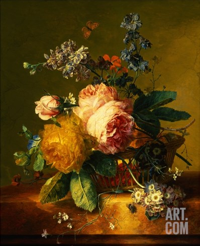 Still Life with a Bouquet of Roses and Other Flowers by Jan van Huysum Stretched Canvas Print