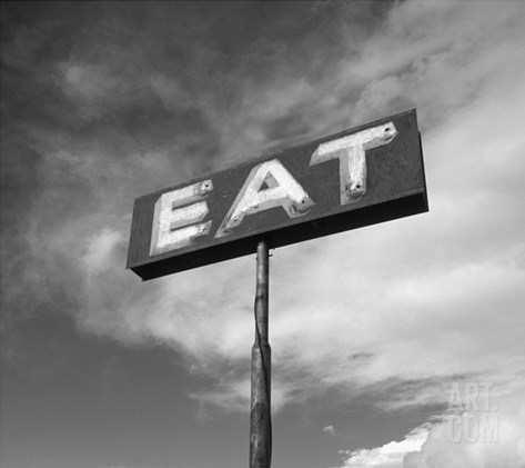 "Vintage ""Eat"" Restaurant Sign Stretched Canvas Print"