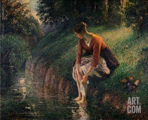 Young Woman Bathing Her Feet in a Brook Stretched Canvas Print
