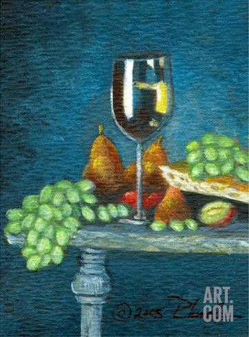 Wine, Grapes, Bread and Fruit~Yum! Stretched Canvas Print