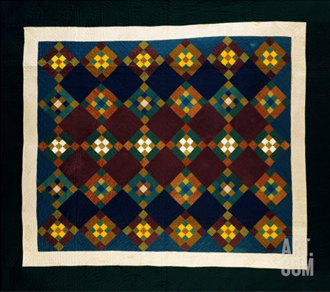 An Amish Pieced & Quilted Cotton Coverlet, Late 19th Century Stretched Canvas Print