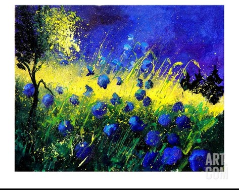 Blue cornflowers Stretched Canvas Print