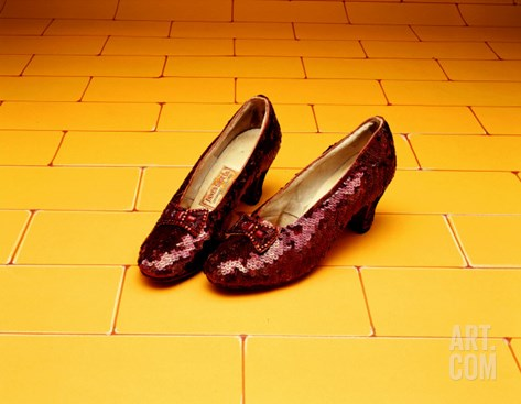 "A Pair of Ruby Slippers Worn by Judy Garland in the 1939 MGM film ""The Wizard of Oz"" Stretched Canvas Print"