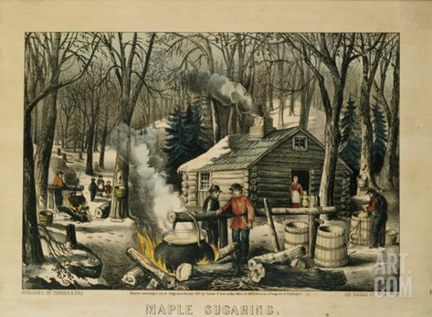 Maple Sugaring, Early Spring in the Northern Woods, 1872 Stretched Canvas Print