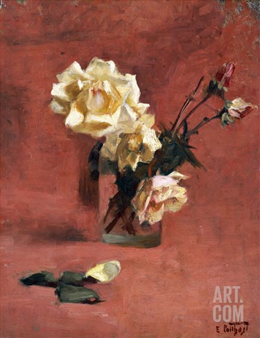Still Life with Roses in a Glass Stretched Canvas Print