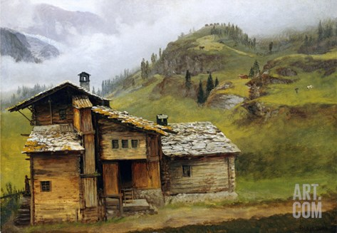Mountain House Stretched Canvas Print