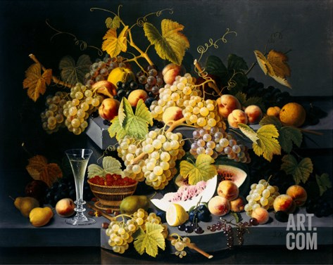 Still Life with Fruit and a Glass of Champagne Stretched Canvas Print