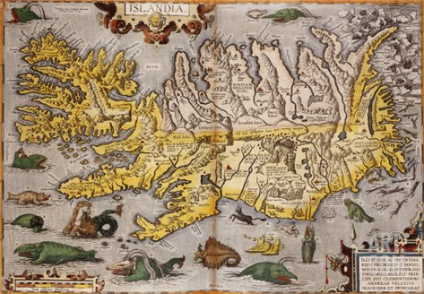 Hand Colored Map of Iceland, 1595 Stretched Canvas Print
