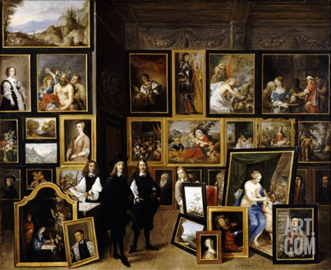 Archduke Leopold Wilhelm in His Picture Gallery, with the Artist and Other Figures Stretched Canvas Print