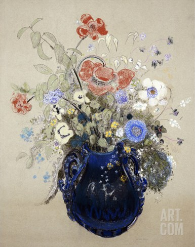 A Vase of Blue Flowers, circa 1905-08 Stretched Canvas Print
