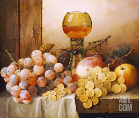 Grapes, Apple, Plums and Peach with Hock Glass on Draped Ledge Stretched Canvas Print