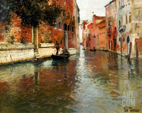 A Venetian Backwater Stretched Canvas Print