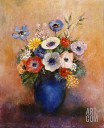 Bouquet of Flowers in a Blue Vase Stretched Canvas Print