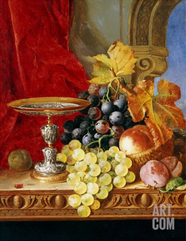 Grapes and a Peach with a Tazza on a Table at a Window Stretched Canvas Print