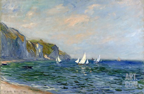Cliffs and Sailboats at Pourville Stretched Canvas Print