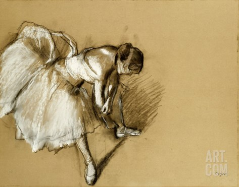 Dancer Adjusting Her Shoe, circa 1890 Stretched Canvas Print