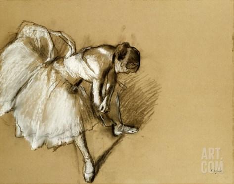 Dancer Adjusting Her Shoe, circa 1890 Stretched Canvas Print