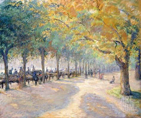 Hyde Park, London, 1890 Stretched Canvas Print
