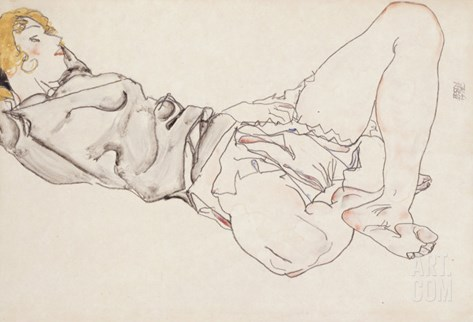 Reclining Woman with Blond Hair, 1912 Stretched Canvas Print