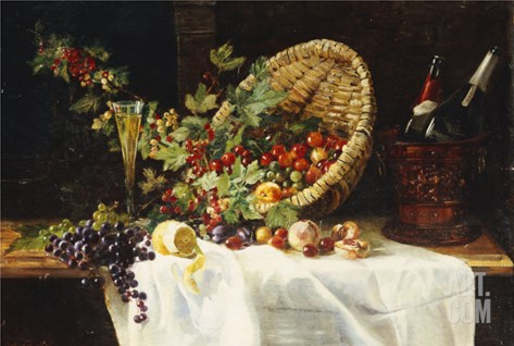 Cherries and Gooseberries in a Basket, 1859 Stretched Canvas Print