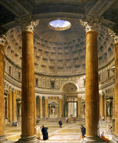 The Interior of the Pantheon, Rome, Looking North from the Main Altar to the Entrance, 1732 Stretched Canvas Print
