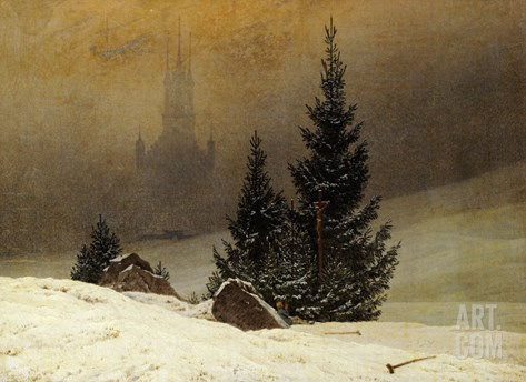 Winter Landscape with a Church Stretched Canvas Print