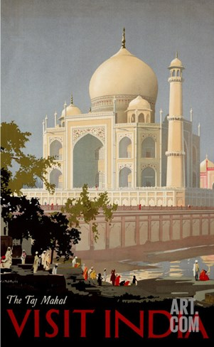 Visit India, the Taj Mahal, circa 1930 Stretched Canvas Print