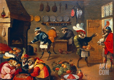 The Monkey's Cooks Stretched Canvas Print