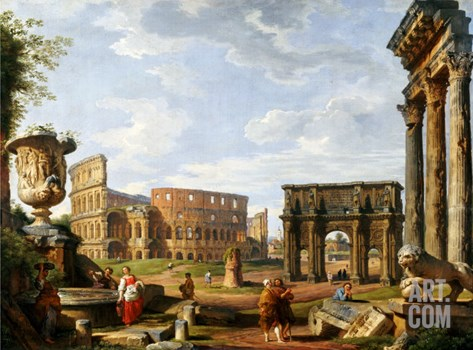 A Capriccio View of Rome with the Colosseum, the Arch of Constantine, 1743 Stretched Canvas Print
