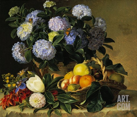 Hydrangea in an Urn and a Basket of Fruit on a Ledge Stretched Canvas Print