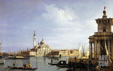 The Island of San Giorgio Maggiore, Venice with the Punta Della Dogana and Numerous Vessels Stretched Canvas Print