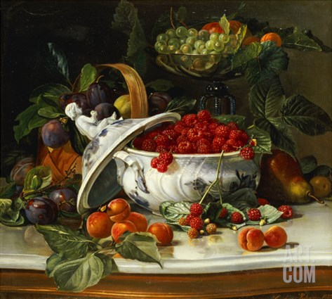 Plums, Grapes and Raspberries in a Porcelain Tureen, 1885 Stretched Canvas Print